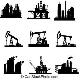植物, 鉱山, オイル, アイコン, デリック, ガス, ベクトル