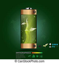 植物, 電池, デザイン, テンプレート, infographics