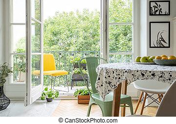 植物, 食事をする, 内地産, 部屋, 弛緩, スペース, 活気に満ちた, 黄色, スカンジナビア人, ハーブ, 外, 内部, 椅子, バルコニー