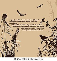 植物, 鳥, スタイル, ブランチ, レトロ