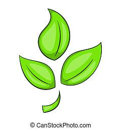 植物,  eco, シンボル, スタイル, 緑, アイコン, 漫画