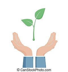 植物, eco, seedling., 手掛かり, 2, イラスト, シンボル。, 杯形, ベクトル, 成長, ∥間に∥, 緑, 手, hands.