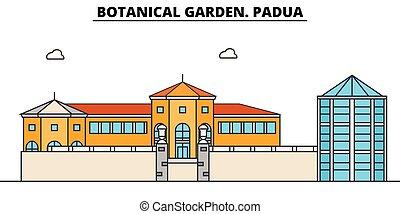 植物, garden., padua, 線, 旅行, ランドマーク, スカイライン, ベクトル, design.,...