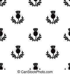 植物, illustration., あざみ, シンボル, スタイル, 単一, ベクトル, 緑, scotland.scotland, 黒, アイコン, leaves.medicinal, 株