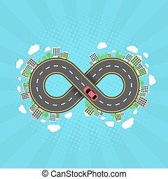 植物, settlements., 無限点, road., 運転, 自動車, 効果, 木, halftone, 旅行,...