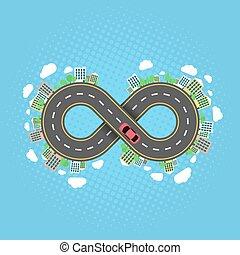 植物, settlements., 無限点, road., 運転, effect., 自動車, 木, halftone, 旅行, によって, carriageway., 前方へ, 都市, world., 漫画, 無限