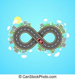 植物, settlements., 都市, 無限点, road., 運転, 自動車, 木, 旅行, によって,...