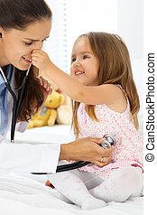 検査, わずかしか, 聴診器, 女の子, 医者