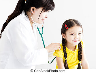 検査, 医者, 女の子, わずかしか, 女性, 聴診器