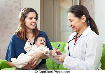 検査, 医者, 母, 腕, 新生, 子供, 赤ん坊