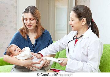 検査, 医者, 母, 腕, 生まれたての赤ん坊