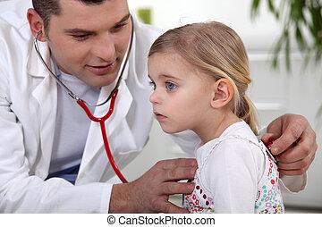 検査, 女の子, 医者