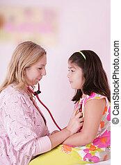 検査, 女の子, 女性の医者