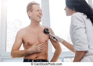 検査, 患者, ポジティブ, 医院, あざ, 皮膚科医