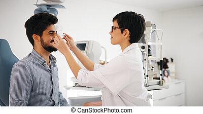検査, 患者, 現代, 眼科学, 医院, 検眼士