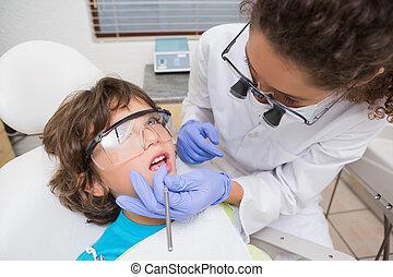 検査, 歯科医, わずかしか, 男の子, 歯