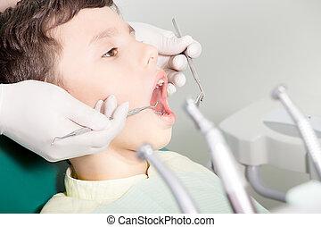 検査, 歯科医, 子供, 歯