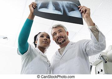 検査, 病院, 胸, 女性, 医者, マレ, x 線