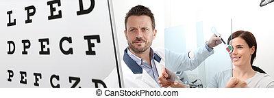 検査, 目, 女, 患者, 指すこと, チャート, プレキシガラス, テスト, 検眼士, 穴, 視力, 優勢