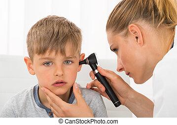 検査, 耳, 男の子, 医者