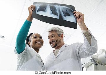 検査, 胸, 女性, 医者, 微笑, マレ, hospita, x 線