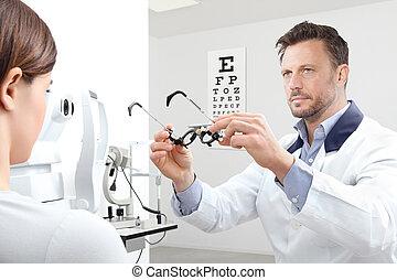 検査, 視力, 女, 患者, メガネ屋, オフィス, フレーム, 裁判, 検眼士
