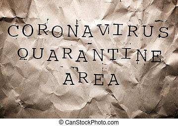 検疫, 区域, 印, coronavirus