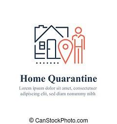 検疫, 外に出なさい, 社会, 概念, 分離, 屋内, 滞在, ない, 家