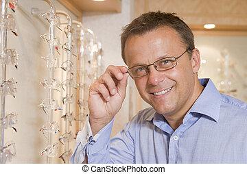 検眼士, 微笑, メガネ, つらい, 人