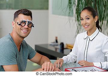 検眼士, 微笑, 患者, 女性, 検査