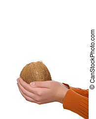 椰子, 在, 手, a, 白色 背景