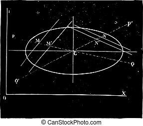 楕円, engraving., 決定, 中心, 型