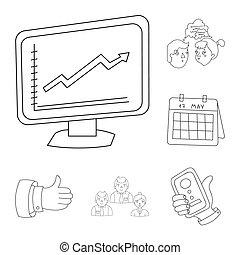 業務會議, 以及, 談判, outline, 圖象, 在, 集合, 彙整, 為, design.business, 以及, 訓練, 位圖, 符號, 股票, 网, illustration.