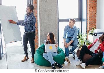 業務會議, 表達, 由于, 隊, 訓練, flipchart, 辦公室