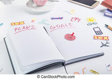 業績, 概念, 仕事, pushpin, アイコン, 個人的, 毎日, 行動, life., 計画, ゴール, 矢, ターゲット, アイコン, 組織者, place., 他, 計画