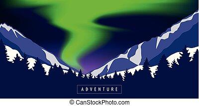 極地, 山, 多雪, 光, 綠色, 冒險