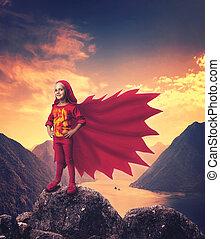極度, 女の子, 英雄, 山