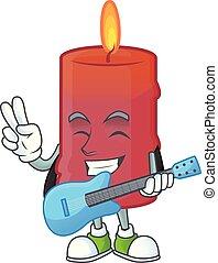 極度, 漫画, パフォーマンス, 涼しい, 特徴, 赤, ろうそく, ギター