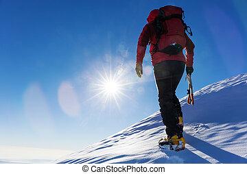 極点, 冬, sports:, 登山家, ∥頂上において∥の∥, a, 雪が多い, ピークに達しなさい, 中に, ∥, alps.