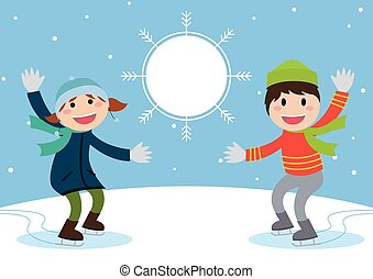 楽しみなさい, スケート, illustration., 男の子, 氷, girl., ベクトル