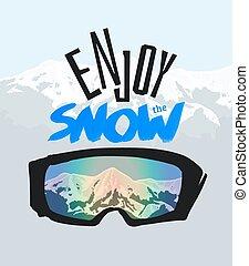 楽しみなさい, ポジティブ, snow., ゴーグル, snowboarding, lettering.