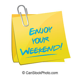 楽しみなさい, メモ, イラスト, デザイン, 週末, あなたの