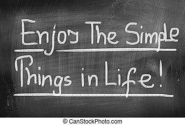 楽しみなさい, 単純である, 概念, もの