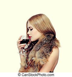 楽しみなさい, 女, 味, 優雅である, sensual, ワイン