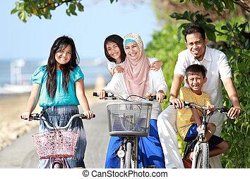 楽しみなさい, 子供, 自転車, 家族, 屋外, 乗馬, 浜