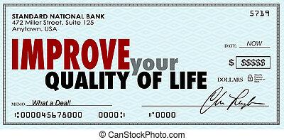 楽しみなさい, 生活, あなたの, お金, 点検, 収入, 品質, 費やしなさい, 改良しなさい