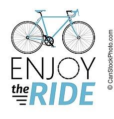 楽しみなさい, 詳しい, tシャツ, 町, クラシック, 乗車, カード, タイトル, イラスト, mens, ベクトル, 自転車, ∥など∥., 道