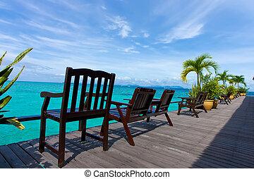 楽しみなさい, 雰囲気, 椅子, 訪問者, 海, 木製である, 刺激