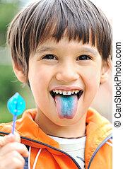 楽しみ, キャンデー, 上に, 舌
