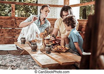 楽しみ, テーブル, 持つこと, 家族, 情事
